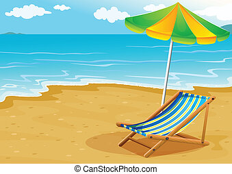 uno, spiaggia, con, uno, panca, e, un, ombrello