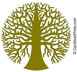 uno, stilizzato, rotondo, albero