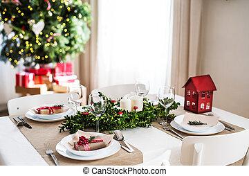 uno, tavola, set, per, uno, cena, a casa, a, natale, time.