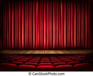 uno, teatro, palcoscenico, con, uno, tenda rossa, seats.,...