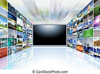 uno, televisione schermo piano