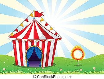 uno, tenda circus, e, il, anello, con, fuoco