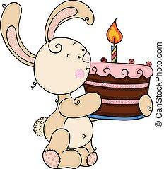 uno, torta, carino, coniglietto, presa a terra, candela compleanno