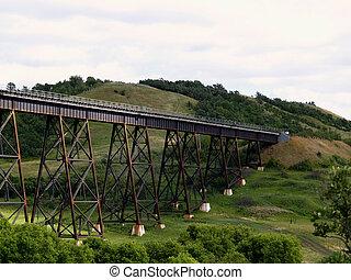 The train bridge just south of the siding of Uno, Manitoba.