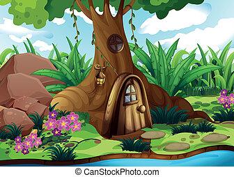 uno, treehouse, a, il, foresta