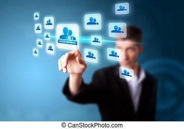 uno, uomo affari, lavorando, tecnologia moderna
