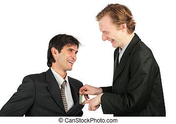 uno, uomo affari, locali, a, un altro, di, soldi, in, tasca