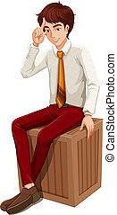 uno, uomo affari, seduta