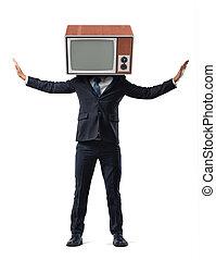 uno, uomo affari, su, isolato, fondo, ha, suo, testa, sostituito, con, uno, retro, tv, e, prese, suo, bracci alzati, su, sides.