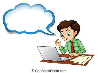 uno, uomo affari, usando, il, laptop, con, un, vuoto, callout