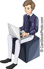 uno, uomo affari, usando, uno, laptop
