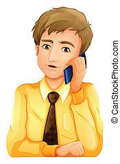 uno, uomo affari, usando, uno, telefono cellulare