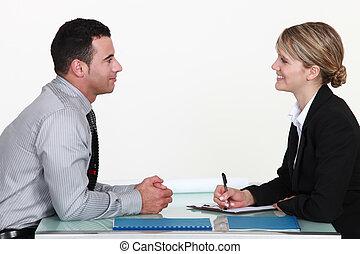 uno, uomo, e, uno, donna, durante, un, interview.