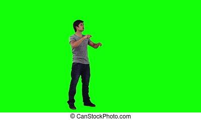 uno, uomo, usando, uno, virtuale, schermo tocco