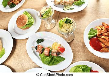uno, varietà, di, delizioso, piatti