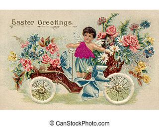 uno, vendemmia, pasqua, cartolina, con, uno, cherubino, sentiero per cavalcate, un, macchina antica, pieno, di, fiori
