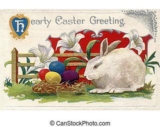 uno, vendemmia, pasqua, cartolina, di, gigli, uno, coniglio bianco, e, uova pasqua