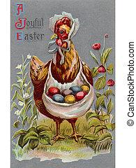 uno, vendemmia, pasqua, cartolina, di, uno, gallina, portante, colorato, uova pasqua