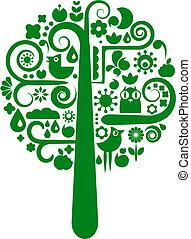 uno, vettore, albero, con, animale, e, fiore, icone