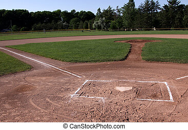 Unoccupied Baseball Field - A wide angle shot of an...