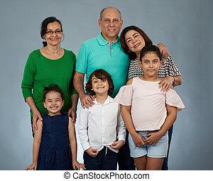 unokák, boldog, nagyszülők