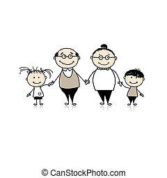 unokák, család, nagyszülők, -, együtt, boldog