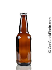 Unopened beer bottle on white with reflection - Closeup...