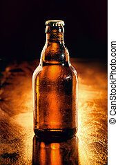 Unopened bottle of chilled beer