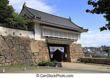 unopened gate of Okayama castle in Okayama, Japan