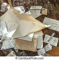 unordentlich, ort, mit, papier