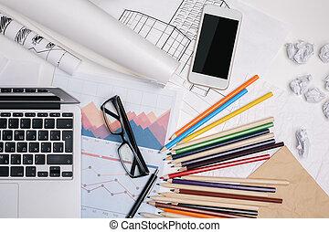 unordentliches büro, schreibtisch, mit, smartphone