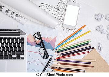 unordentliches büro, schreibtisch, mit, weißes, smartphone