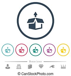 Unpack from box flat color icons in round outlines