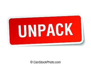 unpack square sticker on white