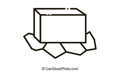 unpacked butter Icon Animation. black unpacked butter animated icon on white background