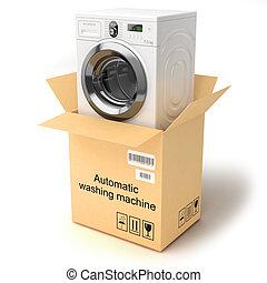 Unpacking the washing machine. Isolated on white background