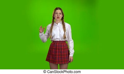 Unpleasant smell made the girl close her unpleasant smell around her nose. Green screen
