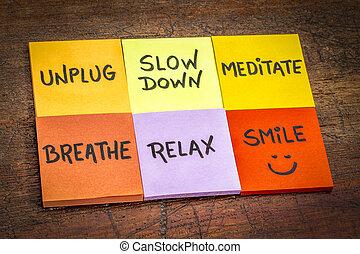 unplug, vá, medite, respirar, relaxe, sorrizo, conceito