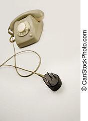 unplugged, análogo, cinzento, telefone, pretas, conectando, plugue
