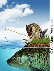 unpredictable result concept, surreal chipmunk fishing on fish