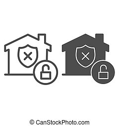 Unprotected building emblem and open lock line and solid icon, smart home symbol, property safety and protection vector sign white background, canceled security shield in house icon outline. Vector.