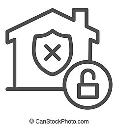 Unprotected building emblem and open lock line icon, smart home symbol, property safety and protection vector sign white background, canceled security shield in house icon outline. Vector.
