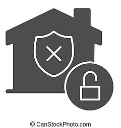 Unprotected building emblem and open lock solid icon, smart home symbol, property safety and protection vector sign white background, canceled security shield in house icon glyph. Vector.