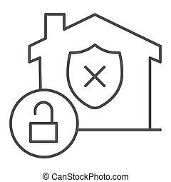 Unprotected building emblem and open lock thin line icon, smart home symbol, property safety and protection vector sign white background, canceled security shield in house icon outline. Vector.