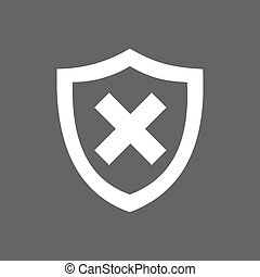 Unprotected shield icon on a dark background