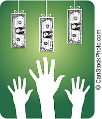 Unreachable money - Hands trying to reach hanging dollar...