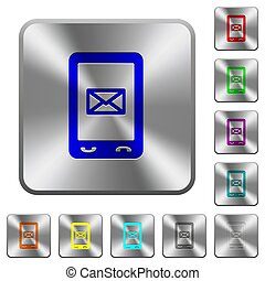 Unread SMS message rounded square steel buttons