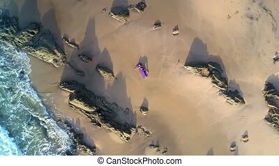 Unreal Picture Woman Lies on Azure Ocean Beach Aerial View -...