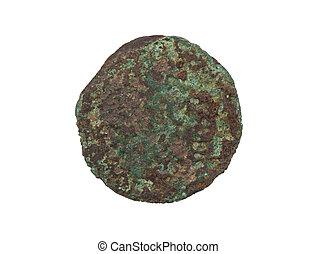unrecognisable, gammal, mynt, rosta, och, grön, isolerat