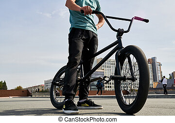 Unrecognizable BMX Rider